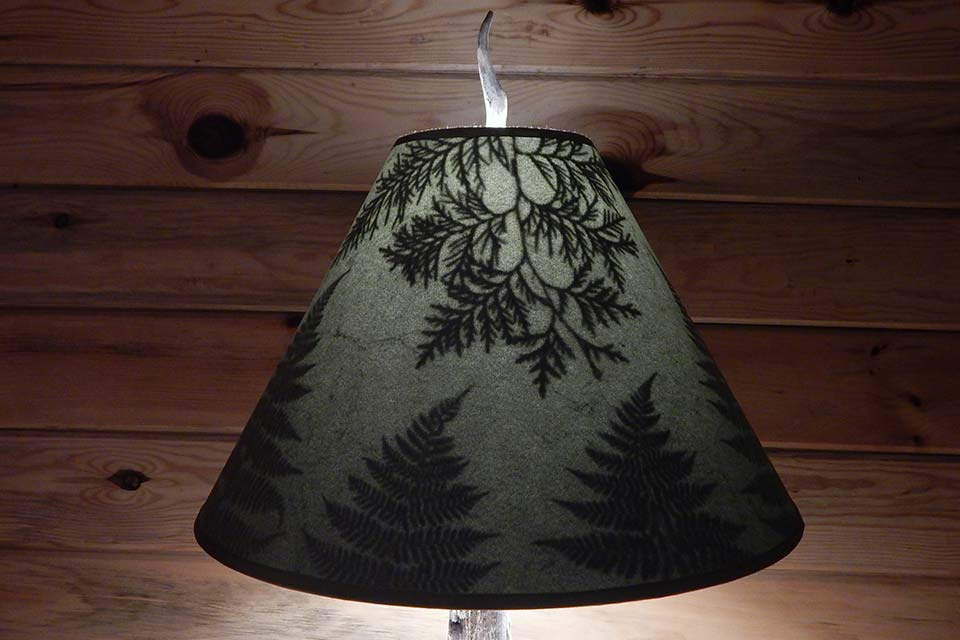 Handmade lamps shades with leaves botanical accents adirondack lampshade with cedar and pine adirondack lampshade with cedar and pine aloadofball Gallery
