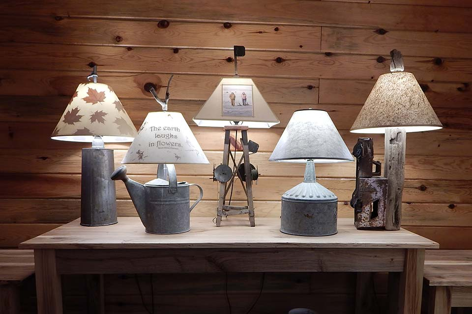 Lamps Made from Antiques with Themed Lamp Shades