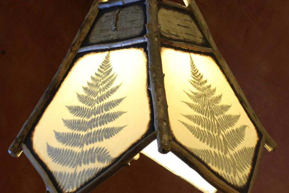 Handmade Pendant Light with Driftwood and Fern Leaves from the Adirondacks