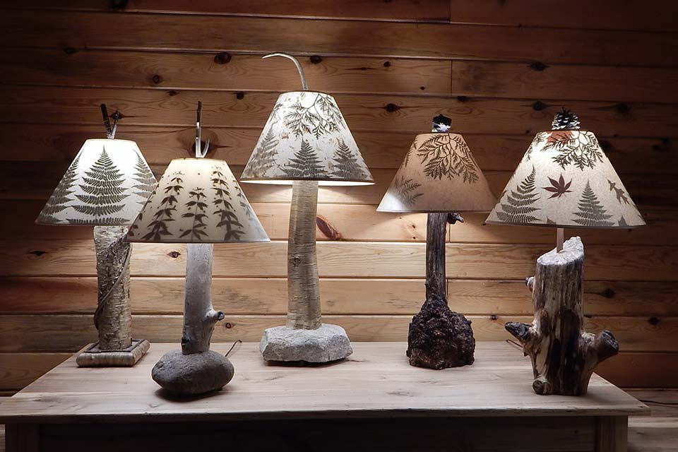 Rustic Tree Lamps and Lamp Shades with Leaves