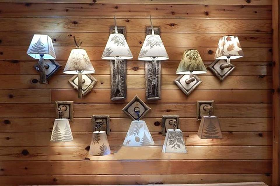 Collection of Adirondack wall sconces