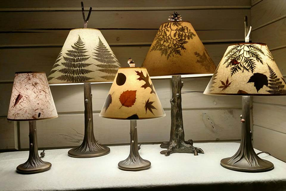Handmade Lamps & Shades With Leaves & Botanical Accents