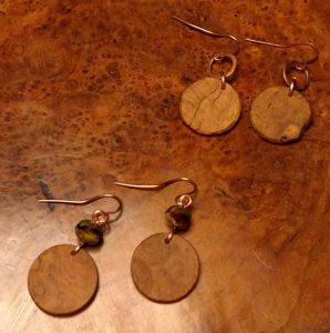 Earrings, Handmade, Cherry Burls, Czech Glass, Copper