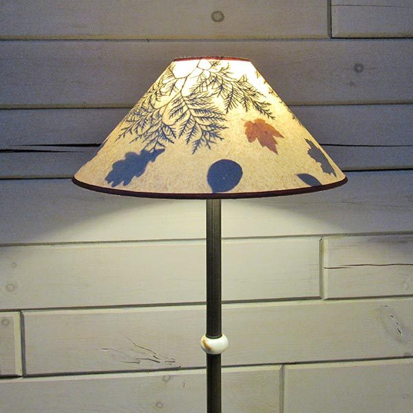 wide lampshade with ferns, leaves and branches