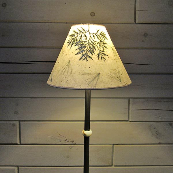 Lampshade with ferns and pine needles