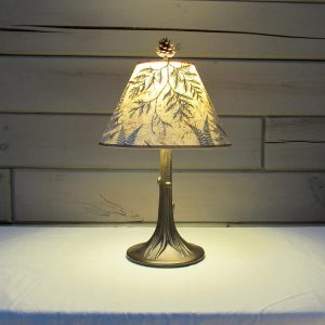 Hand Crafted Lamp Shades with Rustic Tree Trunk Base
