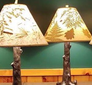 Cast Metal Lamps with Hand Crafted Lampshades