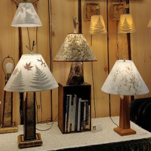 Hand-crafted Wood Bases with Handmade Lampshades